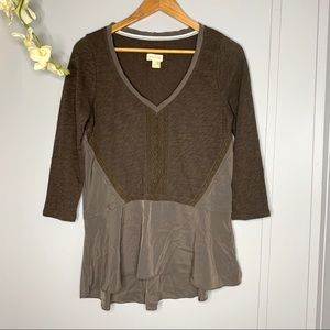 Anthropologie Meadow Rue Olive Green Top M